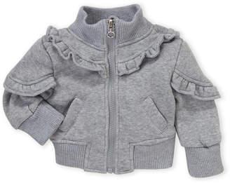 Urban Republic Infant Girls) Mock Neck Ruffle Zip-Up Hoodie