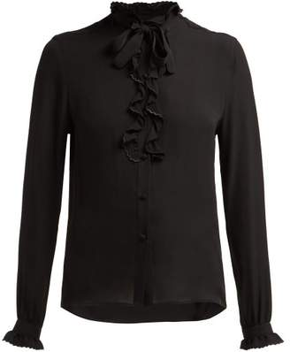 Etro Ruffled Silk Blouse - Womens - Black