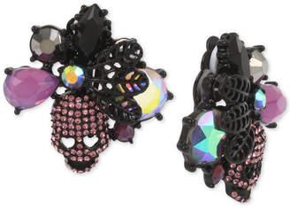 Betsey Johnson Hematite-Tone Crystal & Stone Skull Clip-On Stud Earrings