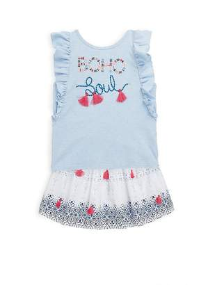 Petit Lem Little Girl's Two-Piece Ruffle Cotton Top and Printed Skirt Set