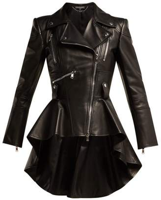Alexander McQueen Peplum Leather Biker Jacket - Womens - Black