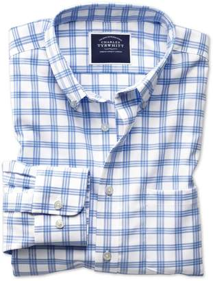 Charles Tyrwhitt Slim Fit Button-Down Non-Iron Twill White and Blue Cotton Casual Shirt Single Cuff Size Medium
