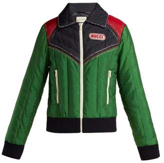 Gucci Crystal Embellished Padded Bomber Jacket - Womens - Green
