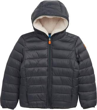 Save The Duck Water Resistant Hooded Jacket with Faux Shearling Lining