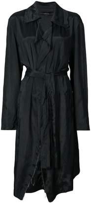 Urban Zen ruffle collar raw edge coat