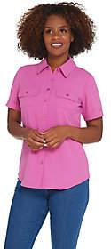Denim & Co. Short Sleeve Button Front CampShirt