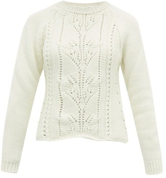 Brock Collection Pointelle Cable Knit Wool Blend Sweater - Womens - Ivory