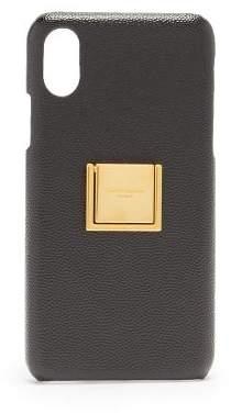 Saint Laurent Grained Leather Iphone Xs Case - Womens - Black