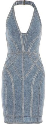 Herve Leger Cotton-Blend Stretch-Knit Halterneck Mini Dress