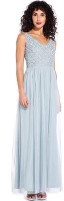 Adrianna Papell Aqua Dust Beaded Long Dress