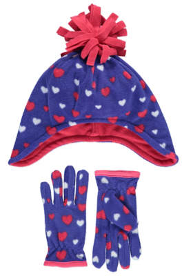 George Fleece Heart Trapper Hat and Gloves Set