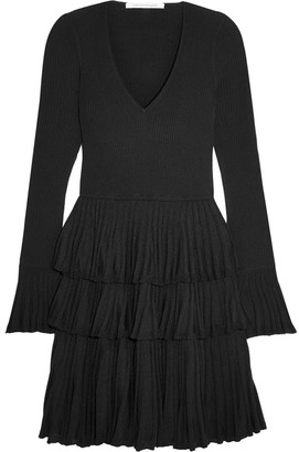 Diane von Furstenberg - Sharlynn Ruffled Ribbed Stretch-knit Mini Dress - Black $500 thestylecure.com