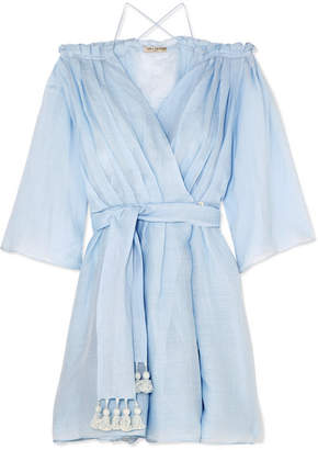 Three Graces London - Tessa Off-the-shoulder Ramie Wrap Mini Dress - Sky blue