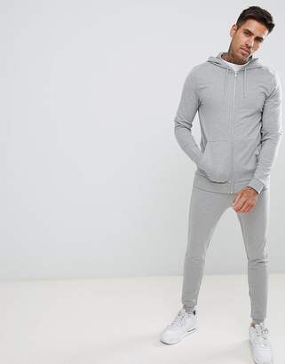 Asos DESIGN tracksuit muscle zip up hoodie/extreme super skinny joggers in gray marl
