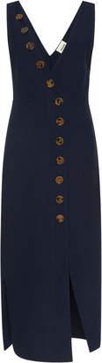 Khaite M'O Exclusive V-Neck Asymmetric Button Down Dress