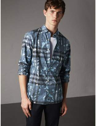 Burberry Beasts Print and Check Stretch Cotton Blend Shirt