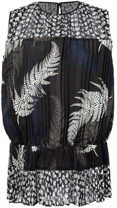 Sacai pleated fern print top