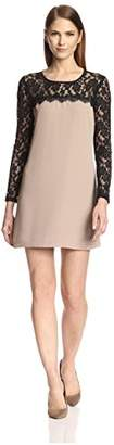 Society New York Women's Long Sleeve Lace Yoke Dress