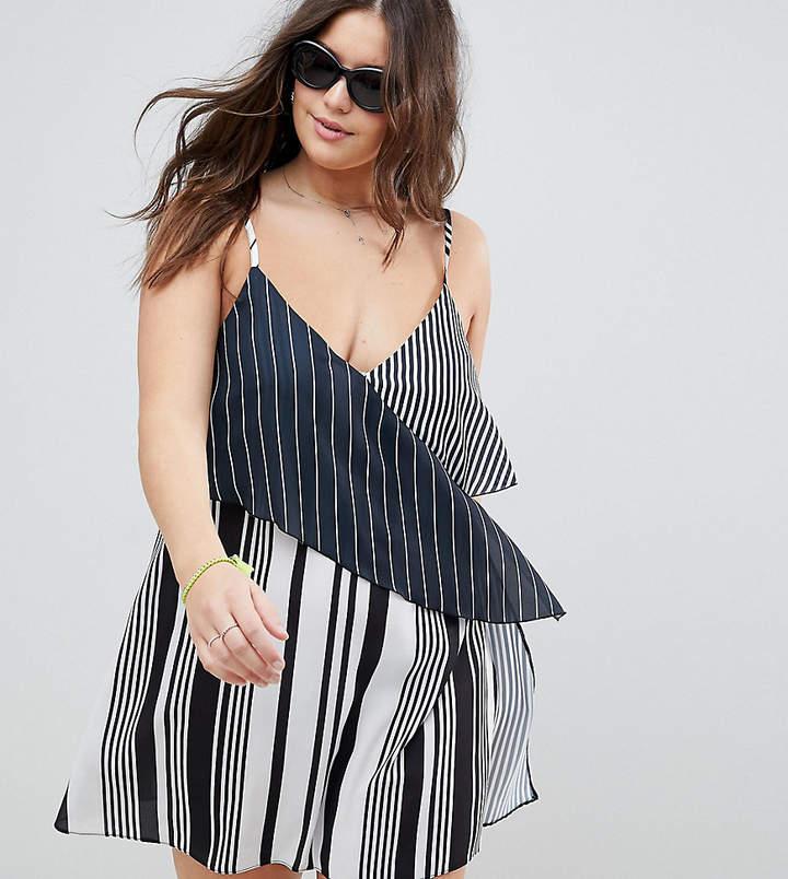 DESIGN curve mixed stripe layered beach dress