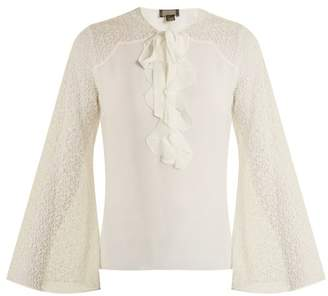 Giambattista Valli Contrast Sleeve Silk Georgette Blouse - Womens - Ivory