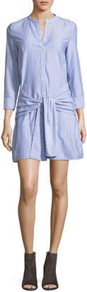 Veronica Beard Stella Tie-Front Striped Poplin Shirtdress