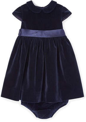 Ralph Lauren Velvet Short-Sleeve Dress w/ Matching Bloomers, Size 6-24 Months