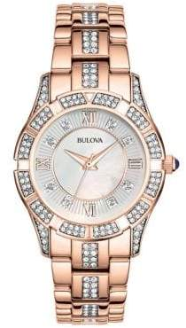 Bulova Ladies Rose Gold Crystal Watch