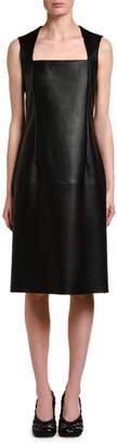 Bottega Veneta Sleeveless Square Halter-Neck Leather Dress