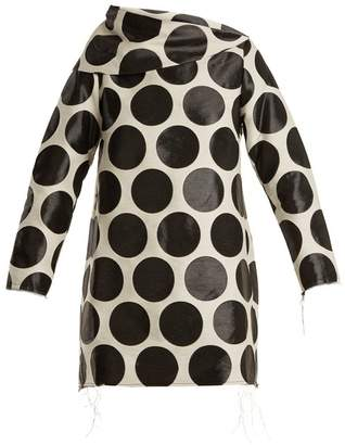 Marques Almeida Marques'almeida - Circle Jacquard Asymmetric Neck Dress - Womens - Black White