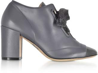 Rodo Gray Leather Heel Pumps w/Velvet Bow