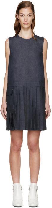 MSGM Indigo Denim Pleated Dress