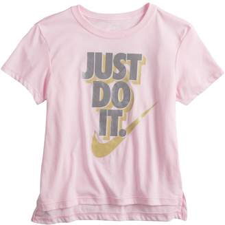 "Nike Girls 7-16 Just Do It"" Metallic Graphic Tee"