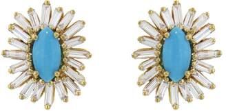 Suzanne Kalan Turquoise and Diamond Baguette Starburst Earrings