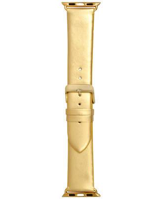 INC International Concepts I.n.c. Women's Metallic Gold-Tone Faux Leather Apple Watch Strap