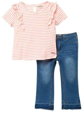 Hudson Jeans Striped Jersey Top & Jeans Set (Toddler Girls)