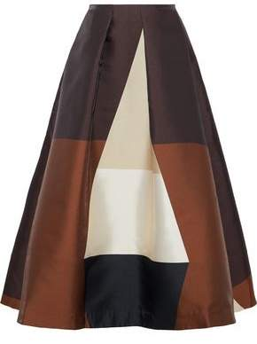 Co Pleated Color-Block Duchesse-Satin Midi Skirt