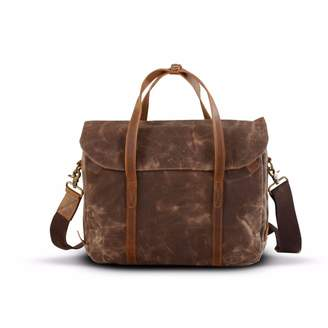 EAZO - Waxed Canvas Messenger Laptop Bag Brown