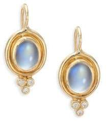 Temple St. Clair Royal Blue Moonstone, Diamond& 18K Yellow Gold Drop Earrings