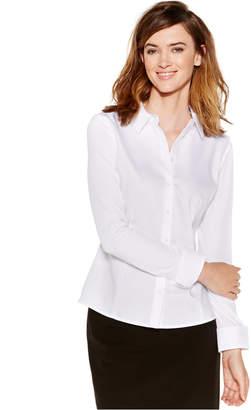 Calvin Klein Knit-Combo Button-Down Top