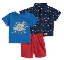 Nannette Baby Boy's Three-Piece Printed Collared Shirt, Graphic Tee and Elasticized Shorts Set