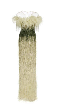 Pamella Roland Ostrich Feather Embellished Sequin Gown
