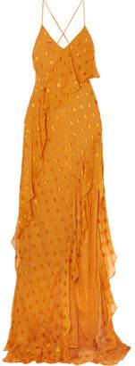 Michelle Mason - Asymmetric Polka-dot Silk-blend Chiffon Dress - Saffron