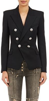 Balmain Women's Double-Breasted Blazer-BLACK $2,380 thestylecure.com