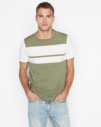 Express Chest Stripe Crew Neck Tee