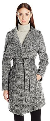 GUESS Women's Tweed Wool Water Resistant Wrap Coat $199 thestylecure.com