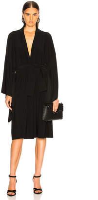 Norma Kamali for FWRD Midcalf Wrap Dress in Black   FWRD