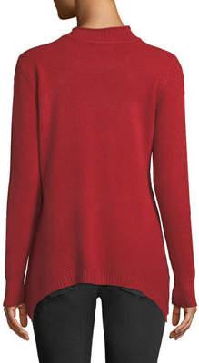 Neiman Marcus Mockneck Handkerchief-Hem Sweater