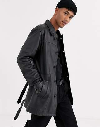Asos Design DESIGN leather single breasted trench coat in black