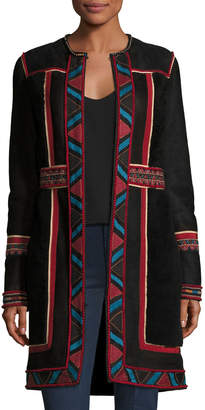 Neiman Marcus Talitha Collection Embroidered Lamb Shearling Coat