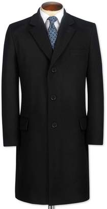 Charles Tyrwhitt Slim Fit Black Wool and Cashmere OverWool/cashmere coat Size 46